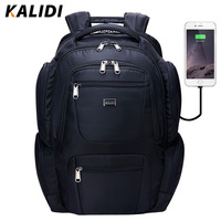 KALIDI Multifunction USB Charging Men 17inch Laptop Backpacks For Teenager Fashion Male Travel Backpack Headphone Extension