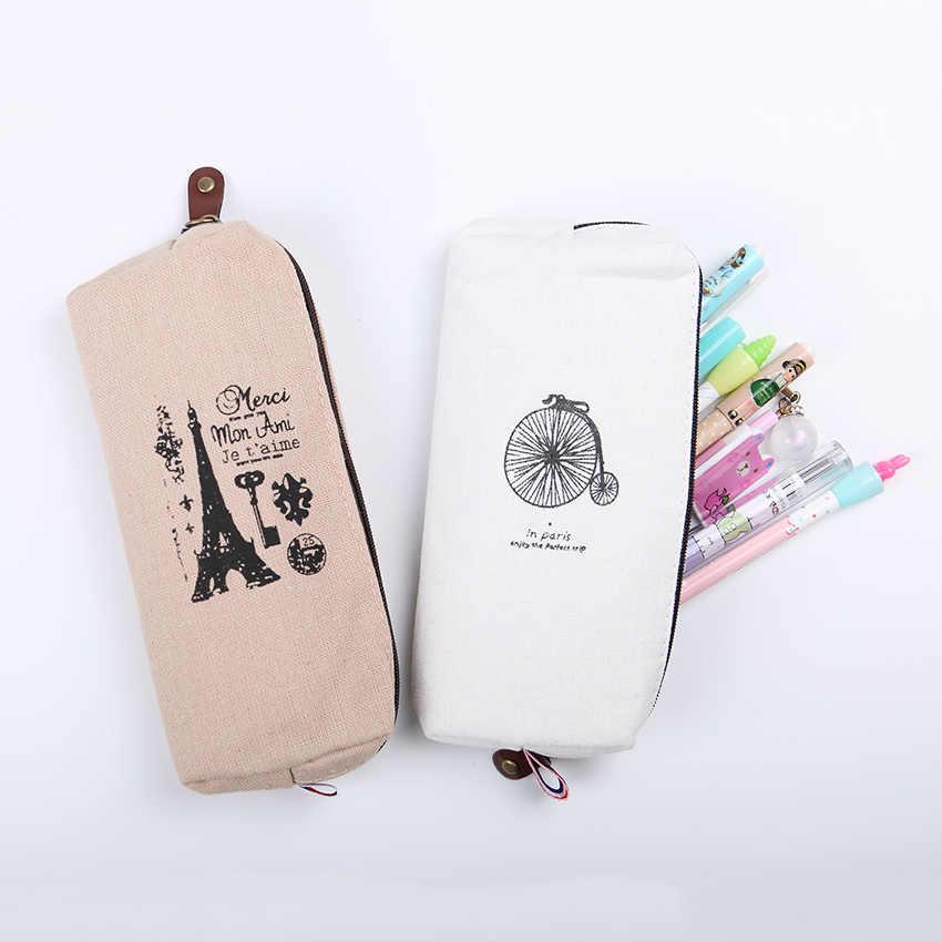 1 Pza Simple creativo estilo París patrón lápiz caso Retro Torres Lino hombres y mujeres titular bolsa de almacenamiento Oficina papelería