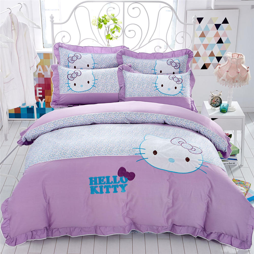 Girls purple bedding - Hot Girls Hello Kitty Cotton Bedding Sets Quilt Duvet Covers Bed Sheets Bedspreads 3 5pc Single Full Queen King Size Purple Blue