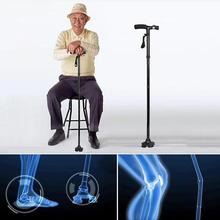 Safety Folding crutch for elderly Stability Cane Walking Stick with LED light Seniors Four-legged Crutches crutch walking sticks the elderly disabled aluminium alloy folding step help line device to help implement crutch rod four feet got up auxiliary walke