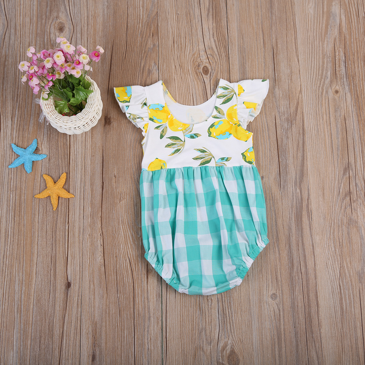 329df89fd0d Cute Toddler Baby Kids Girls Puffy Floral Lemon Romper Plaid Jumpsuit  Playsuit Sunsuit Clothes-in Rompers from Mother   Kids on Aliexpress.com