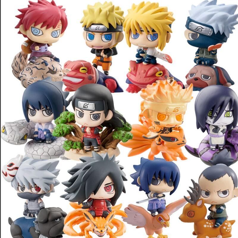 Q Version Anime Naruto Action Figures Collection Sasuke Uchiha Naruto Figures PVC Model Toy Set Toys Children Kids Best Gift lps lps toy bag 20pcs pet shop animals cats kids children action figures pvc lps toy birthday gift 4 5cm