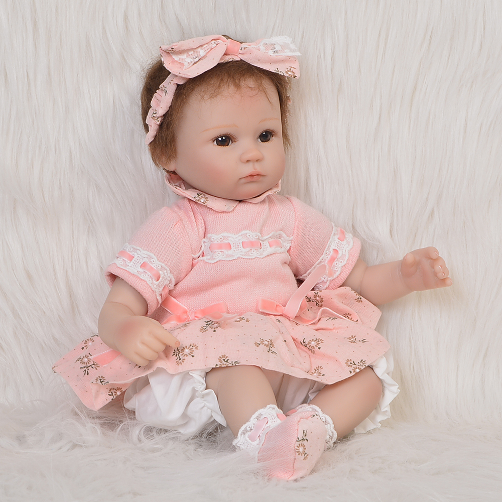 Hot Sale 17inch Reborn Baby Doll Lifelike Newborn Doll So Cute And Lovely With Beautiful Pink Clothes Christmas Or New Year Gift
