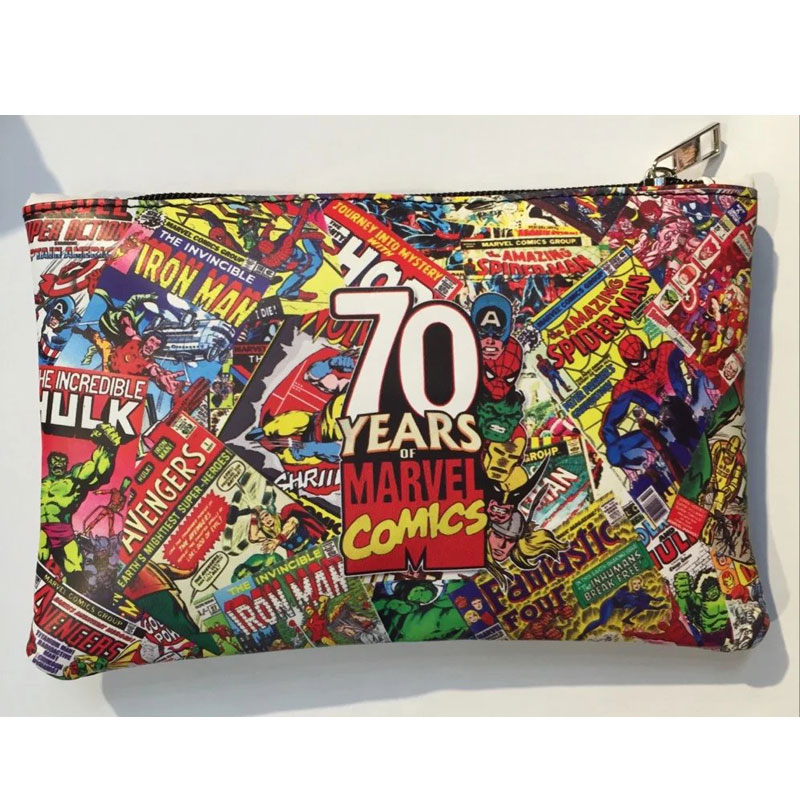 Marvel Comics Super Hero Pen Bag Leather Zipper Purse Pencil Stationery Wallet Carteira Masculina Men Women Anime Casual Wallets