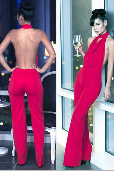 Halter Cowl Neck Backless Jumpsuit LC6405 Ladies red jumpsuit ...