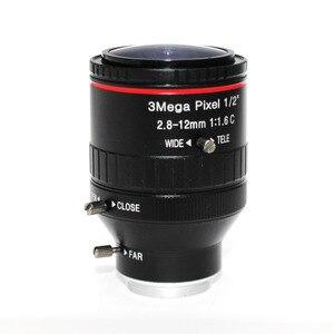 """Image 2 - 3 מגה פיקסל HD F1.6 Varifocal 2.8 12 מ""""מ C הרכבה טלוויזיה במעגל סגור עדשה ידנית מוקד IR 1/2 """"1:1. 6 לאבטחת טלוויזיה במעגל סגור מצלמה מצלמת ip"""