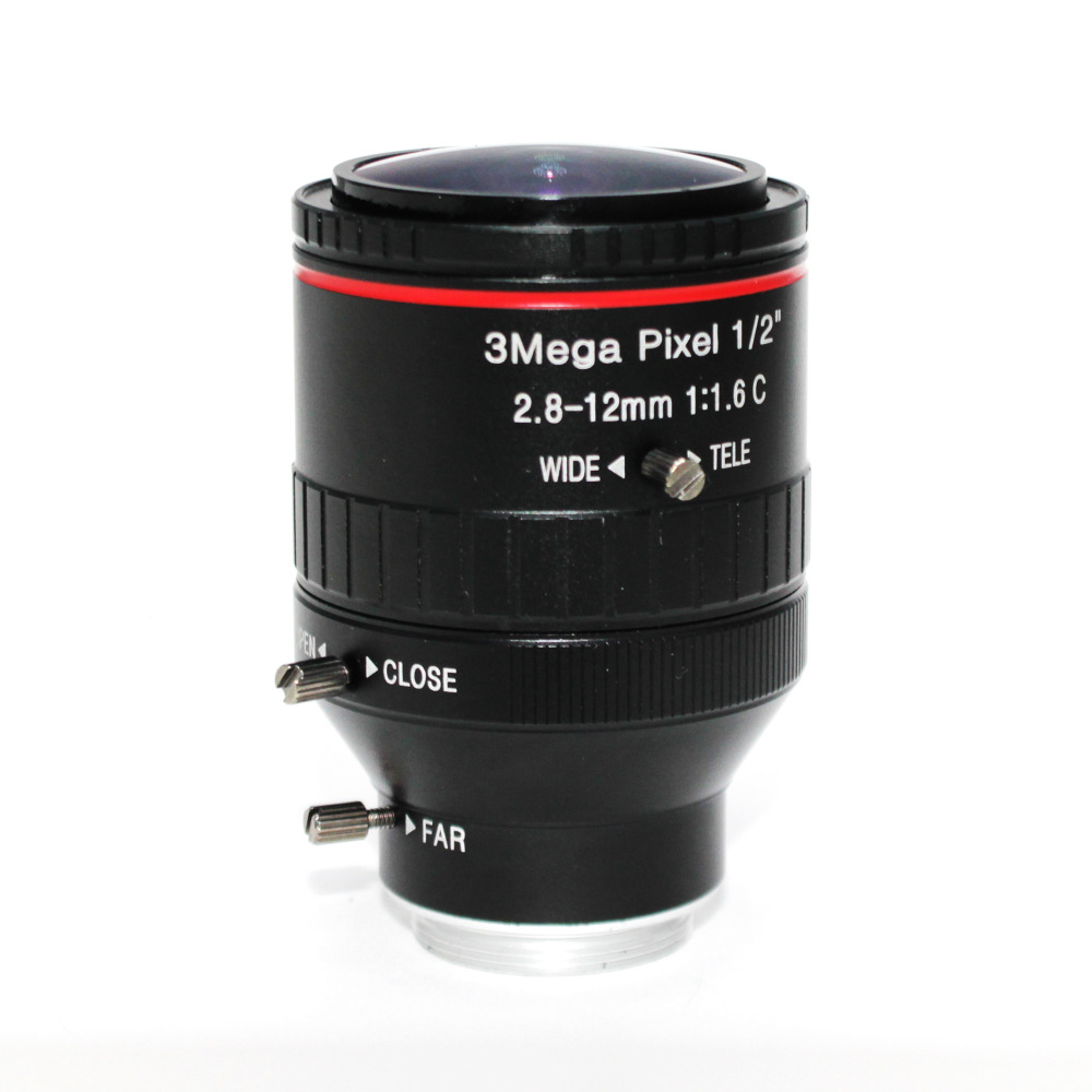 """Image 2 - 3Mega Pixel F1.6 HD 2.8 12mm CCTV lens C Mount Manual Varifocal Focal IR 1/2"""" 1:1.6 for Security CCTV Camera IP Camera-in CCTV Parts from Security & Protection"""