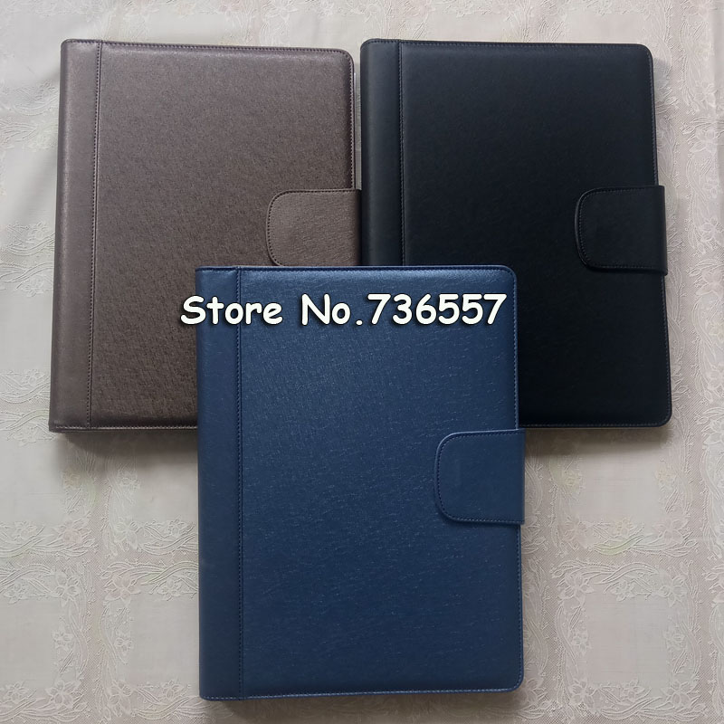 New leather folder Padfolio multifunction organizer planner notebook ring binder A4 file folder with calculator office supply a4 manager folder multifunction leather office folder includes 12 bit calculator clipboard business organizer folder
