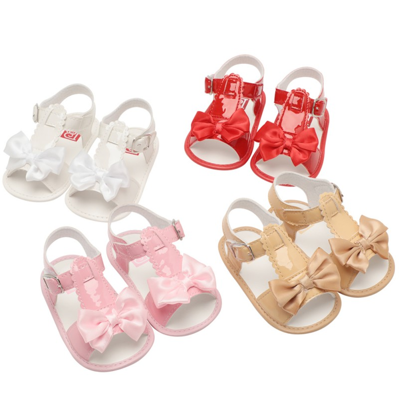 Baby Summer Girls Shoes Fashion Infant Baby Sandals Soft Shoes Bow PU Leather Princess Sandals Slip Breathable Toddlers Shoes
