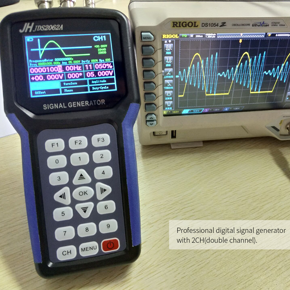 Handheld Oscilloscoop 2 Channel Digital Signal Generator Portable Frequency Meter Generator 30MHz Output 2CH 3 2