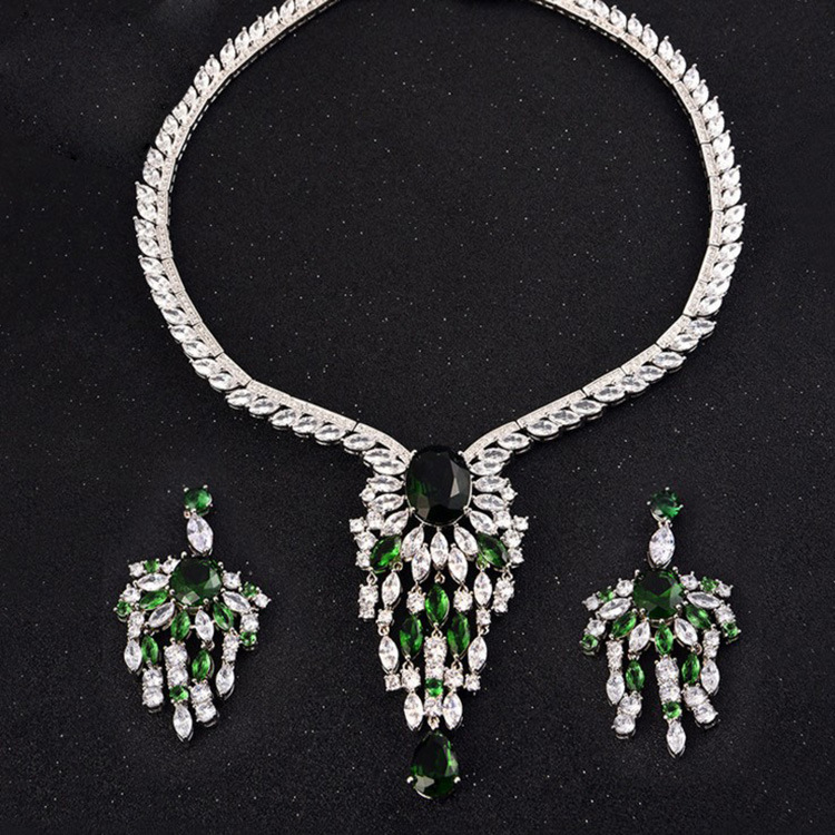 New Fashion Wedding Bridal Tassel Jewelry Sets,Europe Style Rhodium Color AAA Necklace and Earrings Set for Women S076 a suit of stylish fake gem rhinestone leaf tassel necklace and earrings for women
