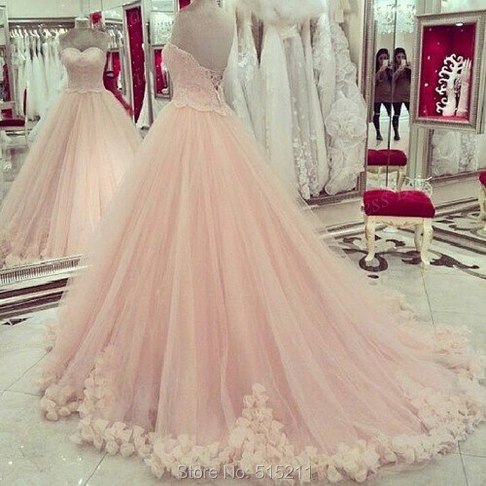Princess Ball Gown Bridal Gown Sweetheart Light Pink Wedding Dresses ...