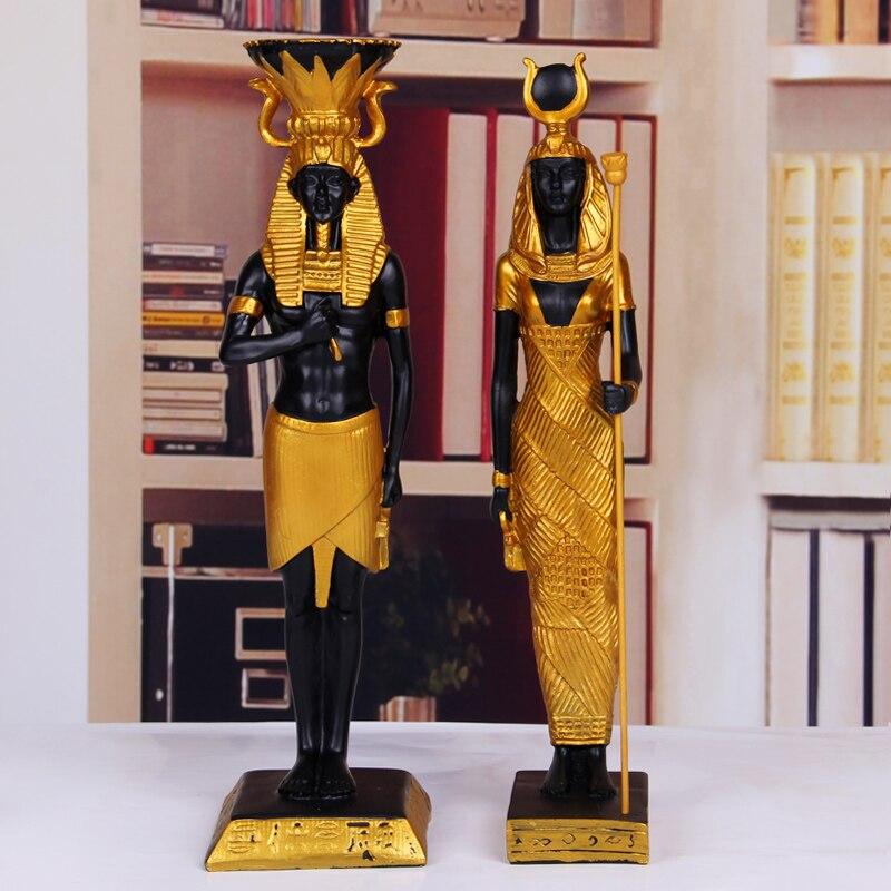 Resina de ouro Egípcio Pharaohn Ornamento Estatueta de Decoração Para Casa Artesanato Ornamentos Acessórios Para Bar Egito Faraó estatueta Artesanato