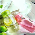 Botellas de Agua de cristal 320 ML Flor Recta Taza taza Puede botll Minimalismo Botley con una cubierta de la bolsa libre de bpa bebida de Viaje de la Escuela de regalo