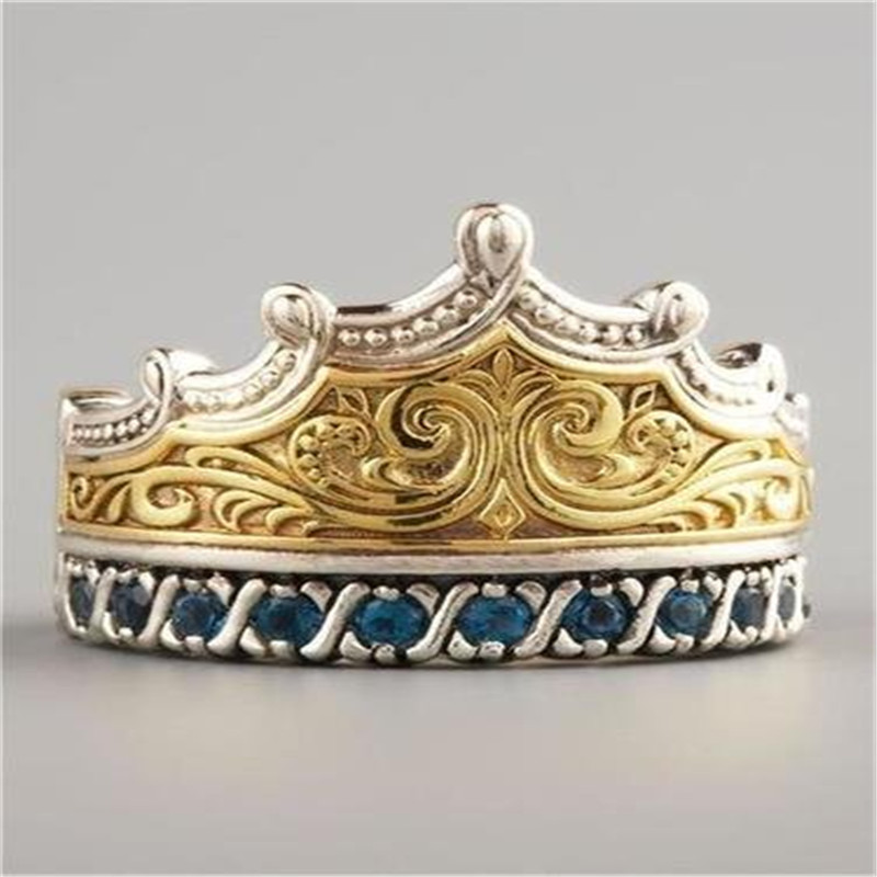 MDNEN New Crown Ring Gold Color Pattern Trendy White Stone Ring For Women Wedding/Engagement/Birthay/Party Jewelry Ring