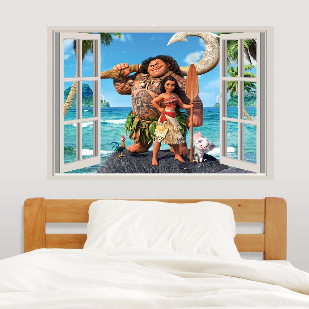 3d View False Window Moana Wall Sticker Decals Baby