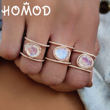 HOMOD Big Oval Opal Rings Fashion Wedding Jewelry Female Engagement Ring For Women Crystal Gold Color Party New Gift