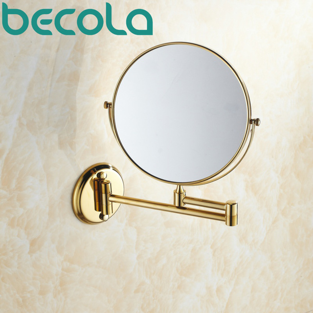 Becola Double Side Bathroom Folding Br Shave Makeup Mirror Gold Plated Wall Mounted Dual Arm Extend