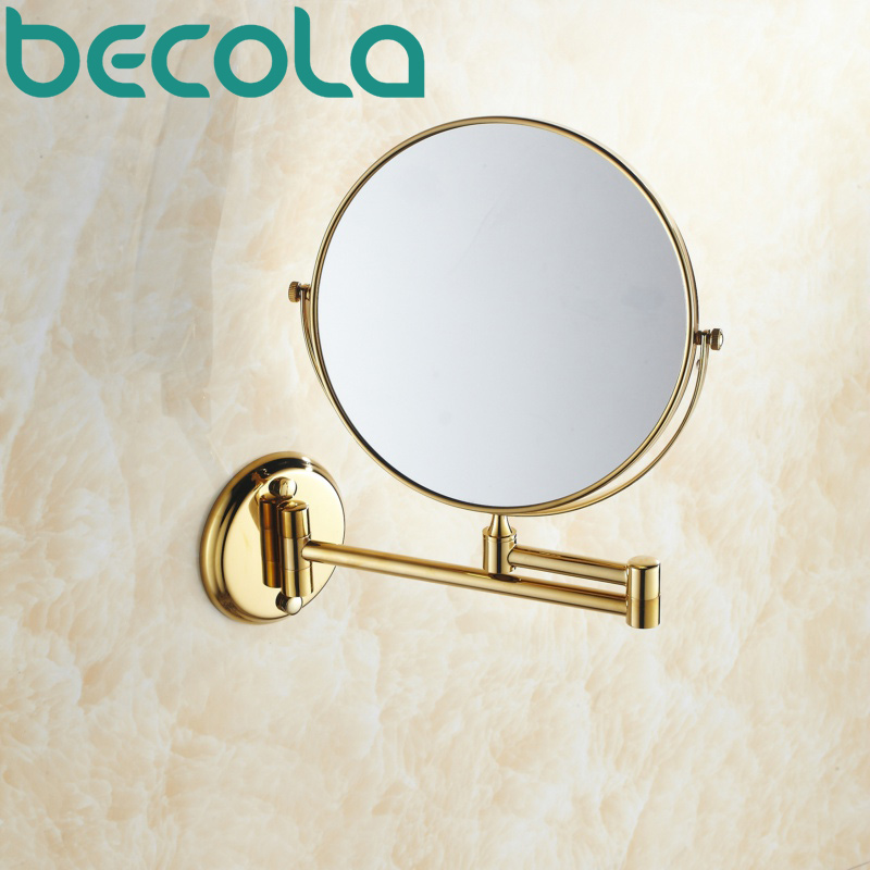 Double Side Bathroom Folding Brass Shave Makeup Mirror Gold Plated Wall Mounted Dual Arm Extend Bath Mirror BR-6738
