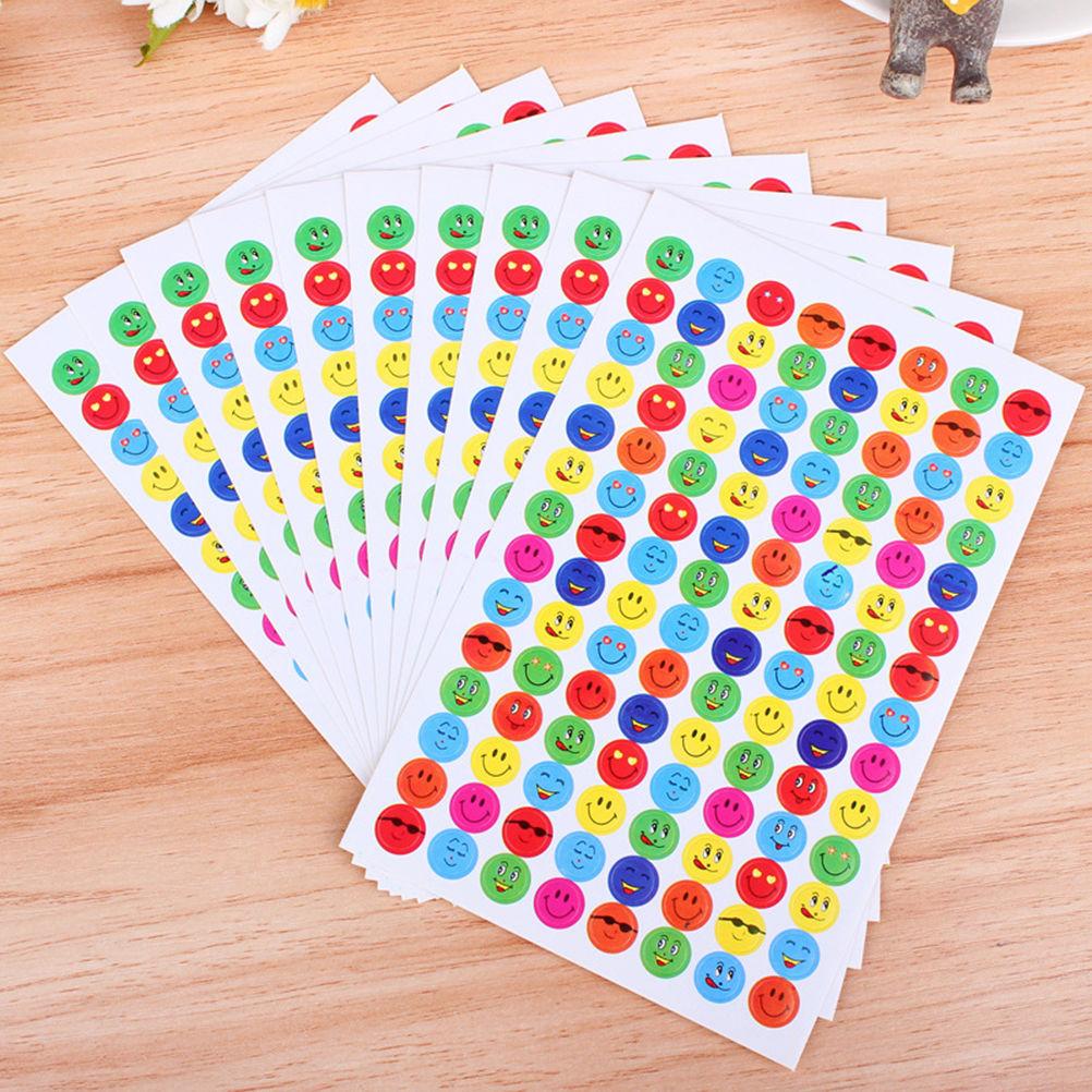 10 Sheets/1120pcs Smile Face Reward Stickers School Teacher Merit Praise Class Sticky Paper Lable Classic Toy