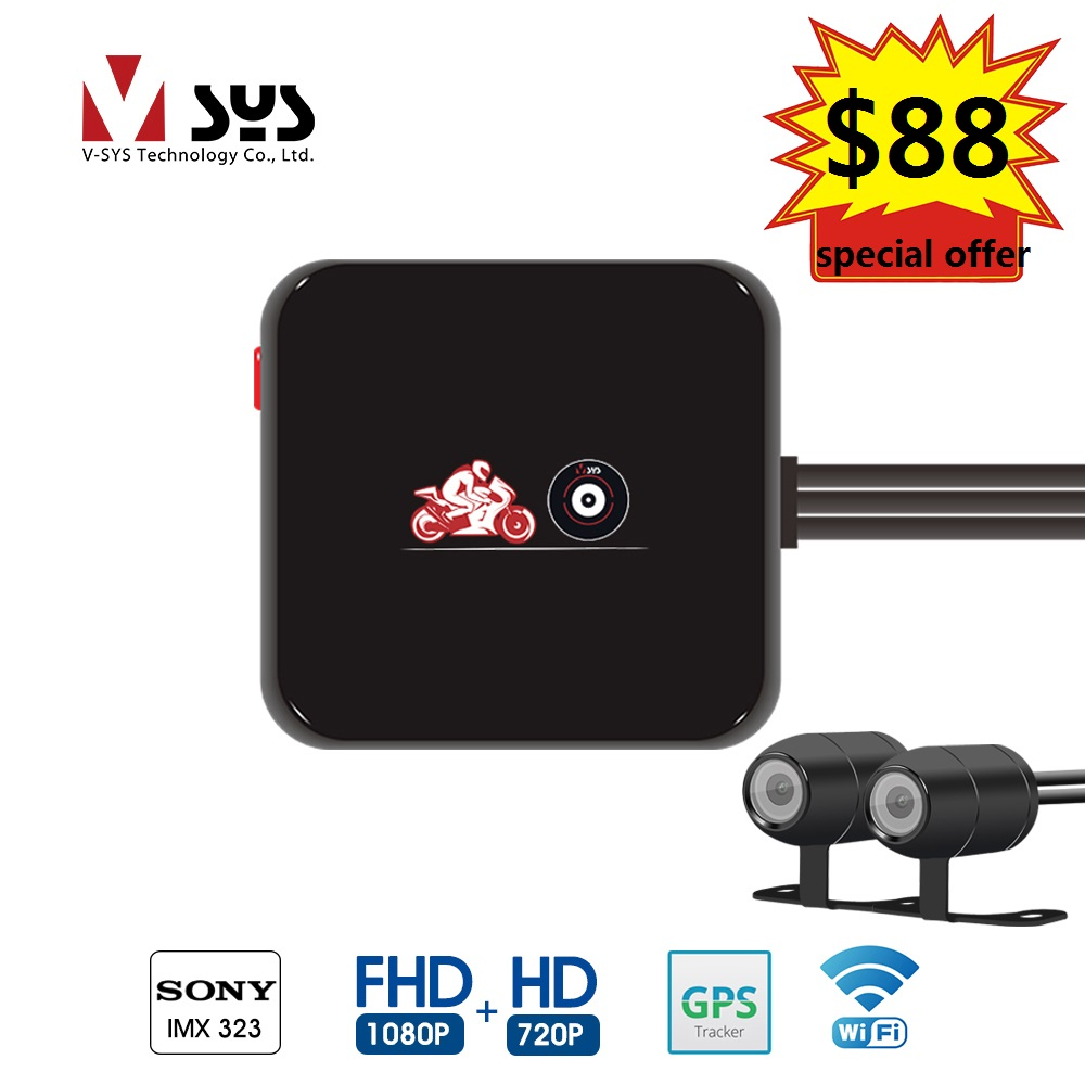 Vsys SYS 2019 newest waterproof lens motorcycle DVR M6Lg Wi-Fi dual 1080p FHD 720P with special offerVsys SYS 2019 newest waterproof lens motorcycle DVR M6Lg Wi-Fi dual 1080p FHD 720P with special offer