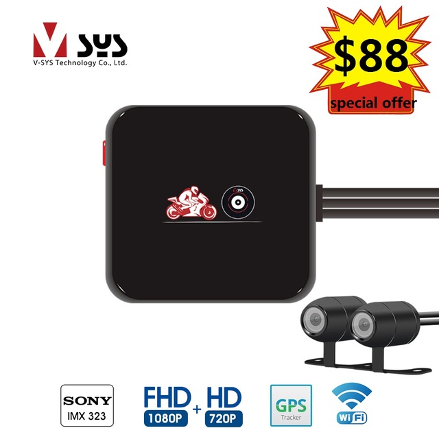 Vsys SYS 2019 newest waterproof lens motorcycle DVR M6Lg Wi-Fi dual 1080p FHD 720P with special offer