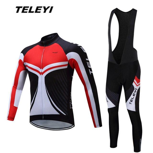 TELEYI Red MTB Bike jersey Bib Pants Set Men Cycling clothing Suit Ropa  Ciclismo Maillot trouser Riding Long Sleeve Shirts Black 3b23d8198