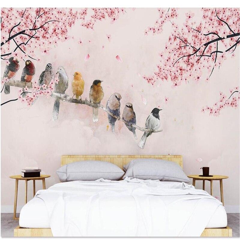 beibehang Wallpaper custom mural wallpaper American hand-painted romantic warm cherry magpie background Papel de parede
