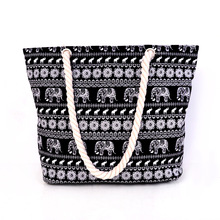 Hot 2017 New Arrival Animal Print Canvas Bags Women elephant Print Shoulder Bags Blue Black Big Capacity Daily Female Bags