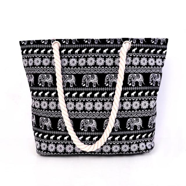 Hot 2017 New Arrival Animal Print Canvas Bags Women elephant Print Shoulder Bags Blue Black Big Capacity Daily Female Bags