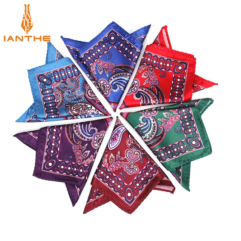 Luxury Men's Handkerchief Vintage Paisley Pocket Square Soft Hankies Wedding Party Business Artificial Silk Chest Towel Gift