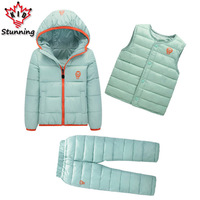 Clothing Sets Winter Snow Wear Boys Girls Clothing Sets Fashion Kids Clothes 3Pcs Down Jacket Vest