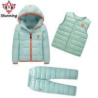 Kleidung Sets Winter Schnee Tragen Jungen Mädchen Kleidung Sets Mode Kinder Kleidung 3 Stücke Unten Jacke + Weste + Hose jungen Anzug