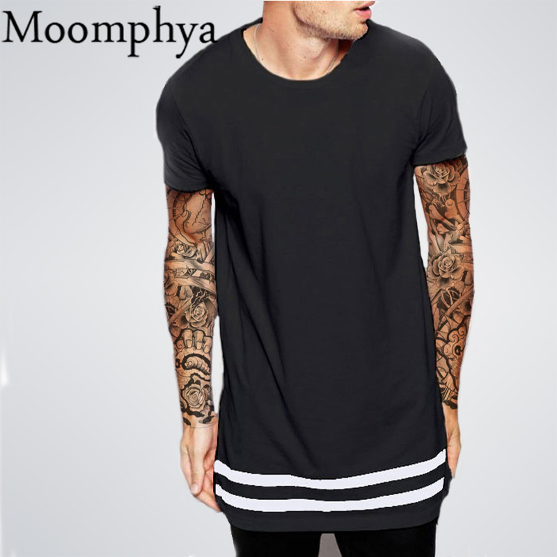 Moomphya Streetwear Men T Shirt Extended Longline Hipster T Shirt Men Stripes T Shirt Homme Long Line T Shirt With Striped Hem