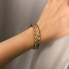 2019 Vintage Thick Snake Chain Bracelets Bangles Lover's Jewelry Personality Alloy Weave Cuff Opening Bangle Bracelet недорого