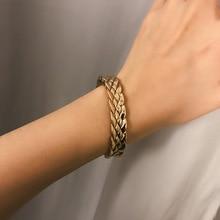 купить 2019 Vintage Thick Snake Chain Bracelets Bangles Lover's Jewelry Personality Alloy Weave Cuff Opening Bangle Bracelet дешево