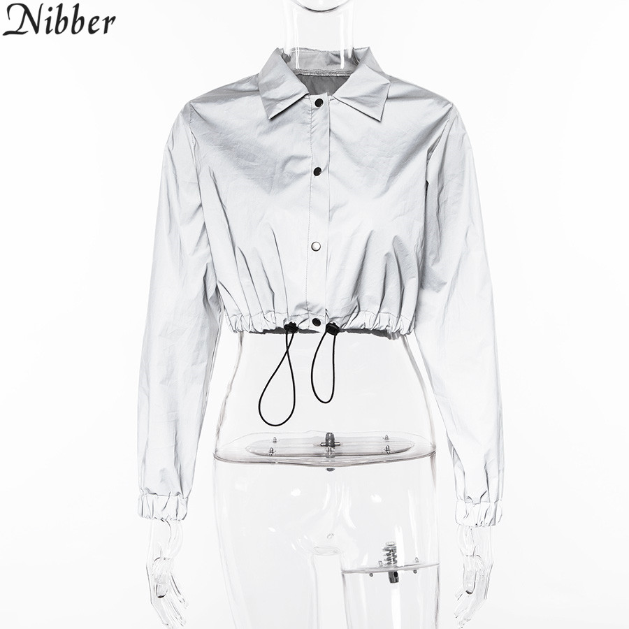 HTB11M9aM9zqK1RjSZPcq6zTepXaZ Nibber fashion Reflective Fluorescence women jackets 2019 new Spring autumn long sleeve crop tops Shining sweatshirt Active Wear