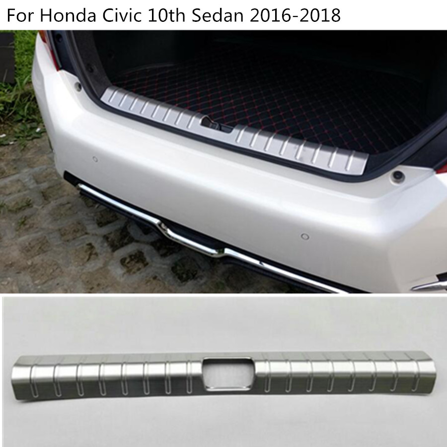 For Honda Civic 10th Sedan 2016 2017 2018 Car cover Stainless Steel Inner built Rear Back Bumper trim plate pedal hoods 1PCS car styling cover detector stainless steel inner built rear bumper protector trim plate pedal 1pcs for su6aru outback 2015