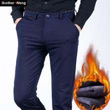 Brother Wang Brand 2019 Winter New Men's Warm Casual Pants Fashion Business Slim Elastic Fleece Thick Pants Plus Size 44 46