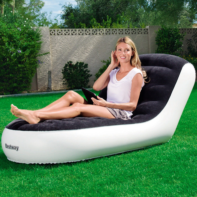 цена Single luxury flocking back inflatable sofa lazy sofa folding loungers outdoor portable inflatable chair,relax sleeping beds