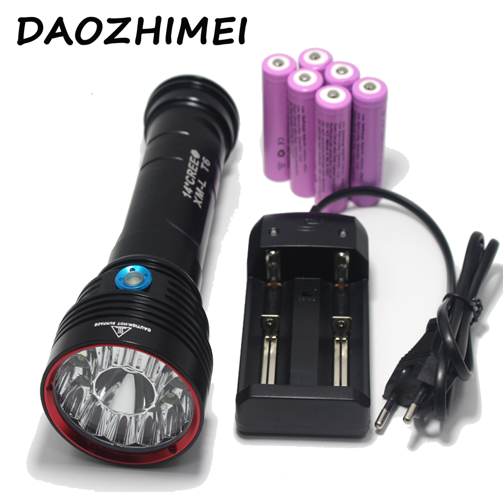 SKY RAY KING 14xT6 14x XM L T6 25000 Lumens 3 Mode LED Flashlight Torch Lamp big power 6X18650 Battery+ Charger