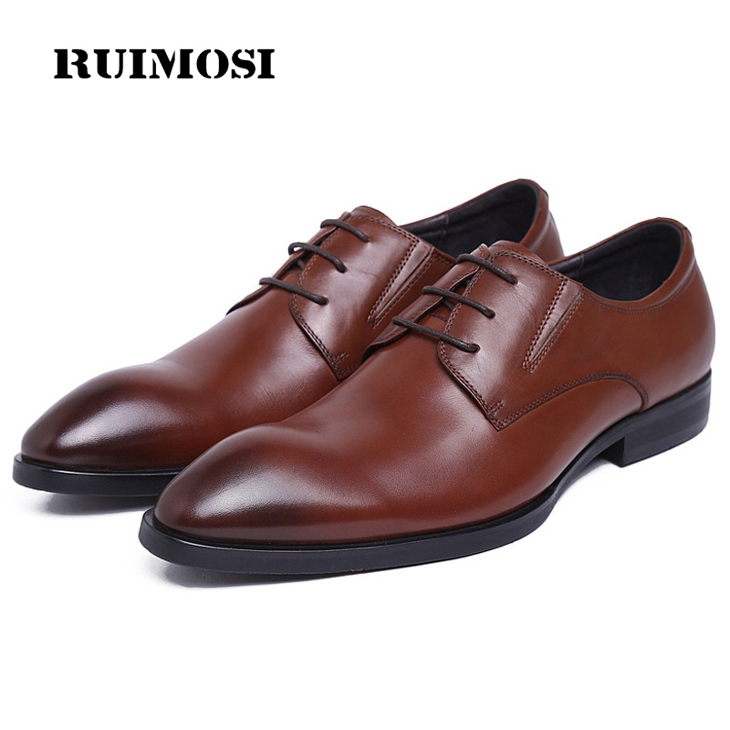 RUIMOSI New Arrival Formal Man Dress Shoes Genuine Leather Derby Wedding Oxfords Luxury Brand Round Toe Men's Footwear QC89