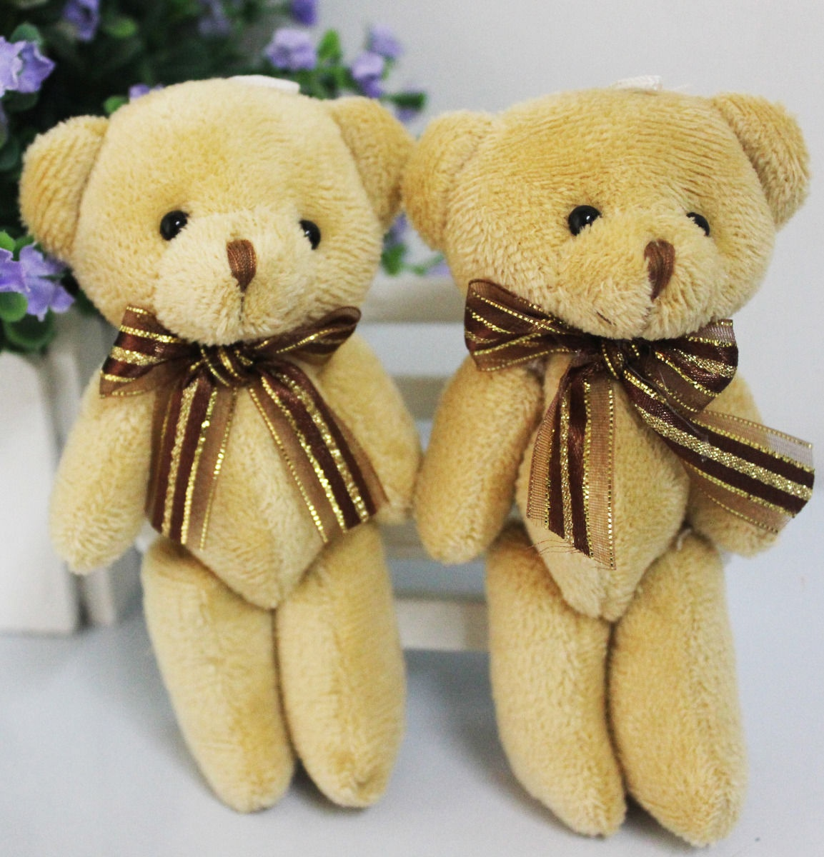 TEUS 5Pcs Kawaii Mini Jointed Stuffed Bear Plush Pendant Bouquet Dolls KidsS