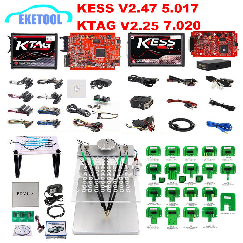 UE Versão KESS V2.47 Vermelho 5.017 Versão BDM Quadro LEVOU Sonda BDM KTAG V2.25 7.020 Online 22 pcs KESS 2.47 KTAG 4LED Galletto