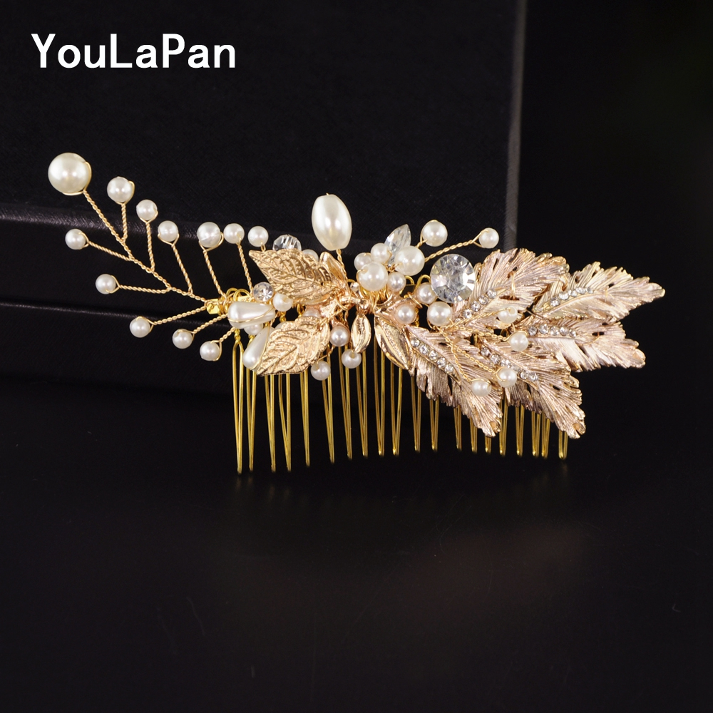 YouLaPan HP33 Bridal Tiara Bridal Wedding Hair Accessories Wedding Combs Gold Leaves Wedding Hair Jewelry Bridal Hair Comb