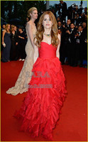 Hot Sweetheart A Line Tiers Ruched Celebrity Dresses 2015 Long Ruffles Red Evening Gown Prom Dresses