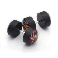 1 Pair Enamel Piercing Tunnels Surgical Steel Fake Plug Cheater Ear Plugs Gauge Earring Body Jewelry Plug Piercing(China)