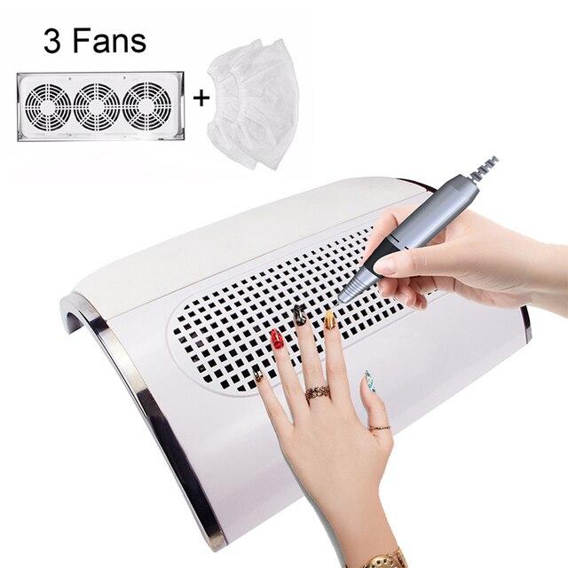 3 wentylatory potężny zasysający pochłaniacz pyłu do paznokci duży rozmiar niski poziom hałasu odkurzacz do paznokci Manicure narzędzie jak z salonu 2 woreczek pyłowy