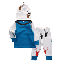 3Pcs Newborn Infant Baby Boy Girl Top Deer Pants Leggings Hat Outfit Set Clothes Baby Boy Girl Autumn Warm Clothing Set