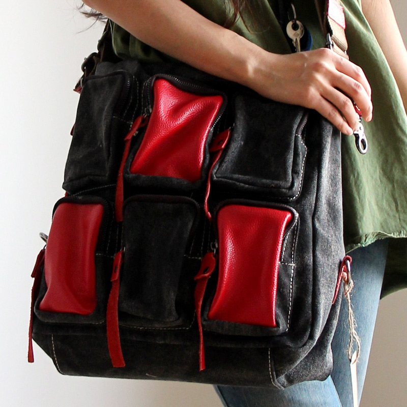 Multi pocket women large denim handbags casual punk shoulder bag large capacity messenger bags FASHION